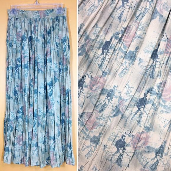 Vintage Dresses & Skirts - Vintage OOAK Penny-Farthing Cyclist Maxi Skirt